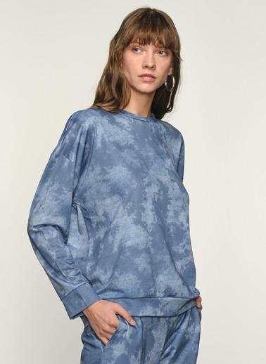 NGSTYLE Ngkaw21Sw0028 Batik Baskılı Sweatshirt Mavi